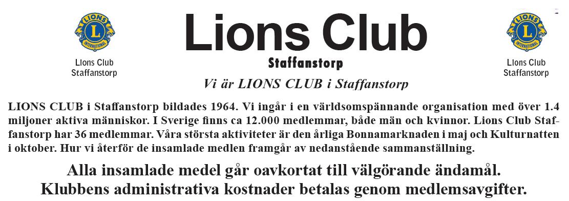 Lions Club Staffanstorp 2016