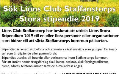 Nominera till Lions Club Staffanstorp Stora Stipendium 2019